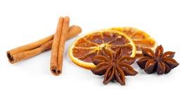 Droge sinaasappel, kaneel en Steranijsplant Stock Afbeeldingen