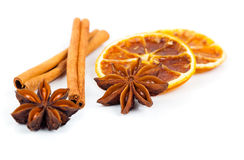 Droge sinaasappel, kaneel en Steranijsplant met exemplaarruimte Royalty-vrije Stock Afbeelding