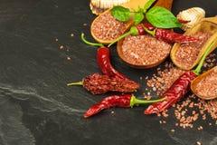 Droge Spaanse peperpeper en rood Hawaiiaans zout Verkoop van kruiden Reclame voor de verkoop van kruiden Stock Fotografie