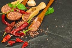 Droge Spaanse peperpeper en rood Hawaiiaans zout Verkoop van kruiden Reclame voor de verkoop van kruiden Stock Foto's