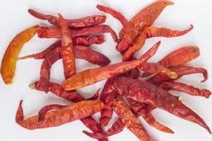 Droge Spaanse peperpeper op witte achtergrond Stock Afbeeldingen