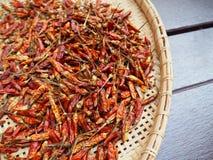 Droge Spaanse pepers bij het dorsen van mand Royalty-vrije Stock Afbeelding