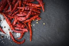 droge Spaanse pepers met zoute kruiden en kruiden donkere achtergrond stock afbeeldingen