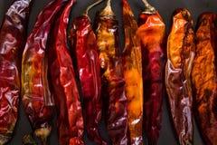 Droge Spaanse pepers op zwarte leiachtergrond Stock Foto's