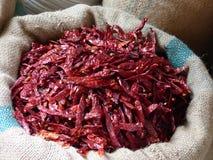 Droge Spaanse peperspeper in een markt van Jaipur Royalty-vrije Stock Afbeeldingen