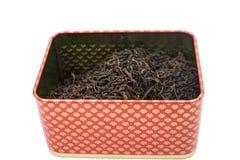 Droge thee in een doos Stock Foto