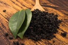 Droge thee en groene bladeren royalty-vrije stock fotografie