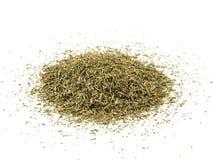 Droge Thyme die op Witte Achtergrond wordt geïsoleerde Stock Fotografie