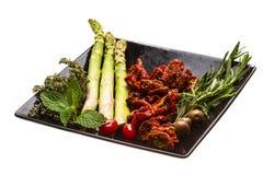 Droge tomaat met asperge Royalty-vrije Stock Afbeeldingen