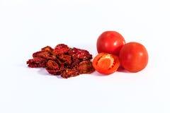 Droge tomaten die voor droge tomaten, in de zon gedroogd tomatenverstand worden gekookt Royalty-vrije Stock Afbeelding