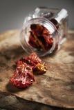 Droge tomaten in een kruik op een houten raad Royalty-vrije Stock Afbeeldingen