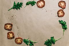 Droge tomaten verse peterselie met kruiden op papier royalty-vrije stock afbeeldingen