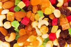 Droge tropische vruchten en noten royalty-vrije stock foto's