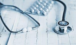 Droge und Pillen mit phonendoscope Lizenzfreie Stockbilder