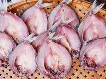 Droge Vissen bij het dorsen van mand Royalty-vrije Stock Foto's