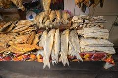 Droge vissen in de markt Royalty-vrije Stock Foto's
