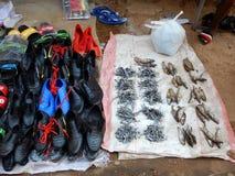 Droge vissen en schoenen voor verkoop in markt in Mozambique stock afbeelding