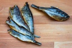 Droge vissen - heerlijke snack met bier Royalty-vrije Stock Foto