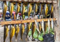 Droge Vissen in het meer van Issyk Kul in Kyrgyzstan Stock Foto's