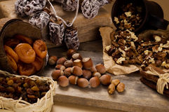Droge vruchten en noten Stock Fotografie