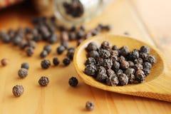 Droge zwarte peperzaden stock foto