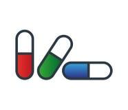 Drogen-Kapsel-Ikonen-Design Stockfotos