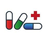 Drogen-Kapsel-Ikonen-Design Stockfotografie