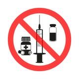 Drogen und Pillenverbotszeichenikone Kein Spritzenaufkleber Einspritzung verboten Antischutzimpfung Endimpfstoff vektor abbildung