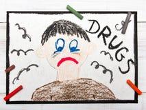 Drogenabhängige Person Trauriger und deprimierter Mann Lizenzfreie Stockbilder