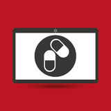 Droghe e pillole mediche di servizio di Notebook PC Fotografia Stock Libera da Diritti
