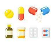 Droghe ed icone delle pillole Fotografie Stock