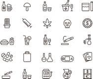 Droghe ed icone di dipendenza royalty illustrazione gratis