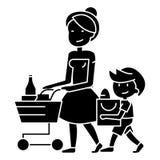 Drogheria di acquisto - madre con l'icona del carrello e del figlio, illustrazione di vettore, segno nero su fondo isolato illustrazione vettoriale