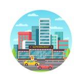 Drogheria nel paesaggio urbano moderno illustrazione di stock