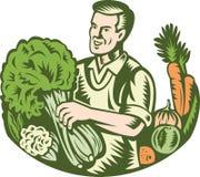 Droghiere organico di verde del coltivatore con le verdure retro illustrazione di stock