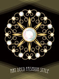 Drogi art deco filigree broszka w okręgu składzie z diamentami, antykwarski złocisty klejnot, moda w wiktoriański stylu, ilustracja wektor