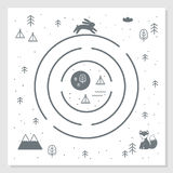 Drogi, gór i drewien przygody labityntu mapa, Skandynaw sztuki Stylowej pepiniery Monochromatyczny druk 10 tło projekta eps techn Fotografia Stock
