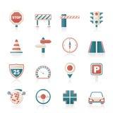 Drogi i ruch drogowy ikony Obrazy Stock