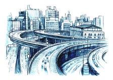 drogi miastowe ilustracji