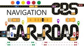 Drogi, samochody, nawigator etykietki Autostrada stylizuje pod wpisową nawigatora i samochodu drogą Kierunek royalty ilustracja