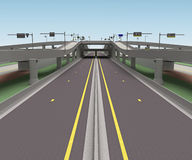 Drogi skrzyżowania 3d bridżowy rendering Obrazy Royalty Free