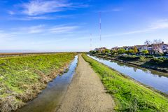 Drogi wodne w Redwood brzeg, San Francisco zatoki teren, Kalifornia obraz royalty free