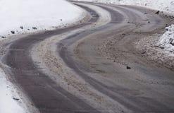 drogowa śliska wijąca zima Obrazy Stock