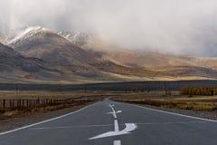 Drogowa góra asfaltu chmur burza Zdjęcia Royalty Free