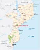 Drogowa mapa Wschodni państwo afrykańskie Mozambique Zdjęcia Royalty Free
