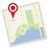 Drogowa mapa z szpilką Zdjęcie Stock