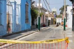 Drogowa praca w Barranco Lima, Peru Zdjęcie Stock