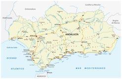 Drogowa wektorowa mapa autonomiczna społeczność Andalusia, Spain Zdjęcie Royalty Free