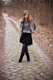 drogowa wiejska kobieta Zdjęcia Stock