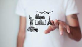 Drogowa wyspa z podróż przedmiotami s i Światowym ` Słynnymi Fotografia Stock